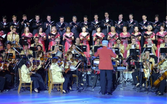 The Russian-based Orchestra of the 21st Century performing in a concert marking the 65th anniversary of DPRK-Russia relations at the East Pyongyang Grand Theater on 15 October 2013 (Photo: Rodong Sinmun).