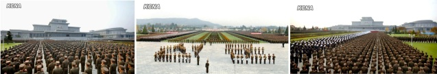 Rally of KPA officers and service members to honor late leaders Kim Il-so'ng and Kim Cho'ng-il and pledge loyalty to Kim Jong Un in Pyongyang on 28 October 2013 (Photos: KCNA).