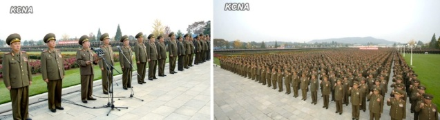 VMar Choe Ryong Hae, Director of the KPA General Political Department , speaks at a rally of KPA officers and service members at Ku'msusan Palace of the Sun in Pyongyang on 28 October 2013 (Photos: KCNA).