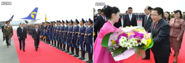 Mongolian President Tsakhiagiin Elbegdorj reviews an honor guard of the KPA and Worker-Peasant Red Guards (L) and receives a floral bouquet after arriving in Pyongyang on 28 October 2013 (Photo: KCNA).