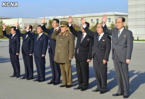 Senior DPRK officials acknowledge President Elbegdorj's departure at Pyongyang Airport on 31 October 2013.  Among those in attendance are Col. Gen. O Kum Chol (4th R), Ri Ryong Nam (3rd R), Pak Ui Chun (2nd R) and Kim Yong Nam (R) (Photo: KCNA).