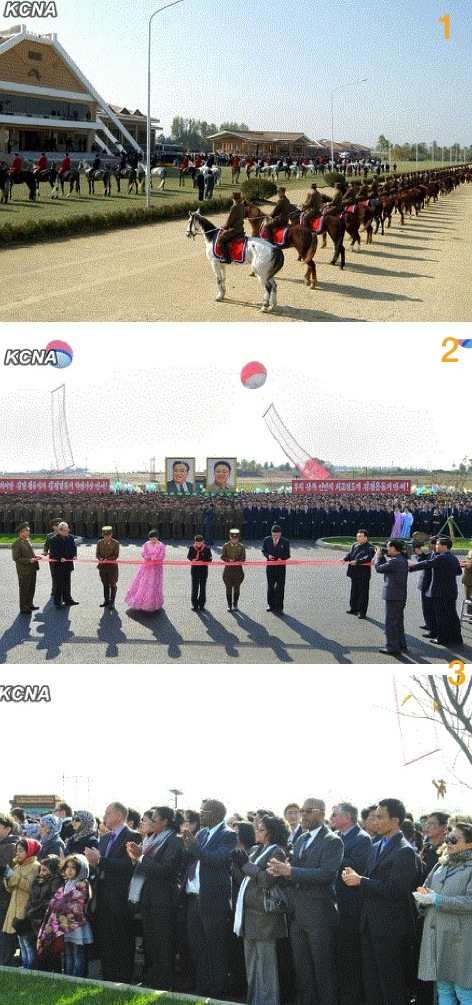 1. Ceremony opening the Mirim Riding Club on 25 October 2013; 2. A ceremonial tape is cut to open the equestrian club; 3. Foreign diplomats and NGO representatives attend the ceremony (Photos: KCNA).