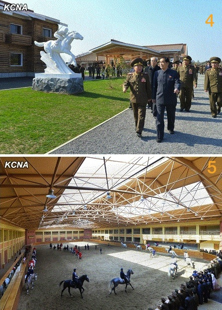 4. Members of the DPRK central leadership tour the equestrian club; 5. Indoor horse arena at Mirim Riding Club (Photos: KCNA).