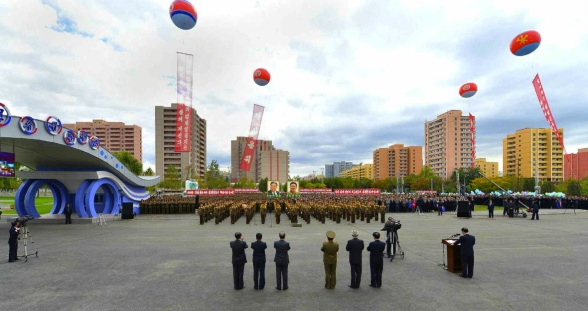 View of opening ceremony opening the Munsu Water Park in east Pyongyang on 15 October 2013 (Photo: Rodong Sinmun).