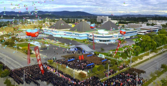 Military parade at opening of Munsu Water Park