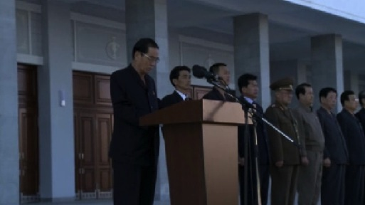 DPRK Premier Pak Pong Ju speaks at a ceremony reopening the Pyongyang Indoor Stadium after renovations on 3 October 2013 (Photo: KCNA screen grab).
