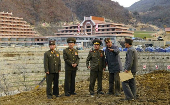 VMar Choe Ryong Hae (3rd L) visits the construction of Masik Pass Ski Resort in Kangwo'n Province (Photo: Rodong Sinmun).