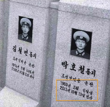 Annotated on this grave stone is the date (13 October 2013) that members of a KPA Navy crew were killed.  According to ROK sources, the crew was killed during a training exercise off the coast of Wo'nsan, Kangwo'n Province on the DPRK's east coast (Photo: Rodong Sinmun).