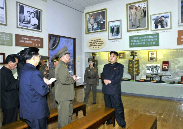 Kim Jong Un (R) visits an exhibition about KPA commanders and their ties to the DPRK's supreme leadership at the Ministry of the People's Armed Forces Revolutionary Museum in Pyongyang (Photo: Rodong Sinmun).