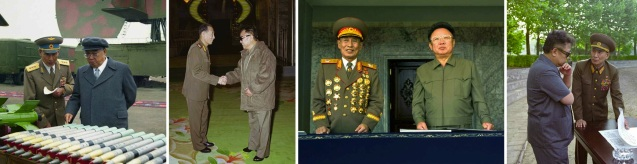 Images of VMar Jo Myong Rok with late DPRK President and founder Kim Il Sung and late leader Kim Jong Il (Photos: MPAF/Rodong Sinmun).