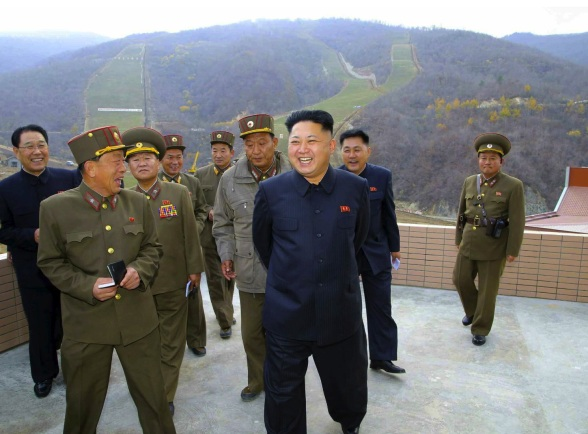 Kim Jong Un tours the construction of the Masik Pass Ski Resort in Kangwo'ng Province (Photo: Rodong Sinmun).
