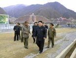 Kim Jong Un and senior Korean Workers' Party and Korean People's Army officials tour Masik Pass Ski Resort in Kangwo'n Province (Photo: Rodong Sinmun).