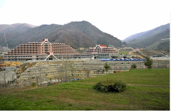 View of the construction of the Masik Pass Ski Resort in Kangwo'n Province (Photo: Rodong Sinmun).