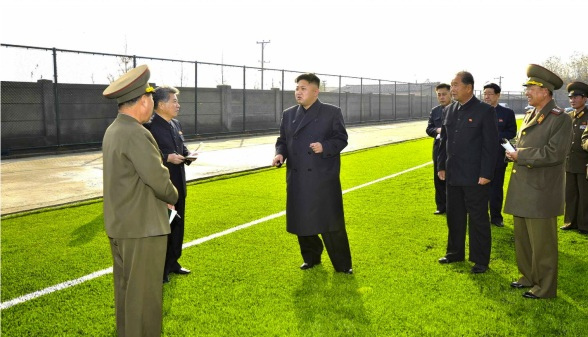 Kim Jong Un visits the construction of the Mangyongbong Sports Team's football squad's practice field (Photo: Rodong Sinmun).