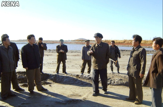 DPRK Premier Pak Pong Ju tours Kwisong Saltern.  Also seen in attendance is DPRK Vice Premier and State Planning Commission Chairman Ro Tu Chol (2nd L) (Photo: KCNA).