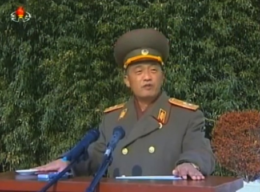 Lt. Gen. Ri Song Guk, commanding officer of the IV Army Corps, speaks at a 23 November 2013 meeting marking the 3rd anniversary of the artillery incident on Yo'np'yo'ng Island (Photo: KCTV screen grab).
