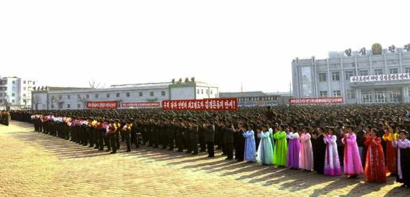 A 23 November 2013 meeting in Kangryo'ng County, South Hwanghae Province, marking the 3rd anniversary of the Yo'np'yo'ng Island incident (Photo: Rodong Sinmun).
