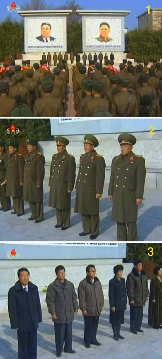 View of participants at the 23 November 2013 anniversary meeting (1) and senior commander of the IV Army Corps (2) and provincial and country officials (3) attending the meeting (Photos: KCTV screengrabs).