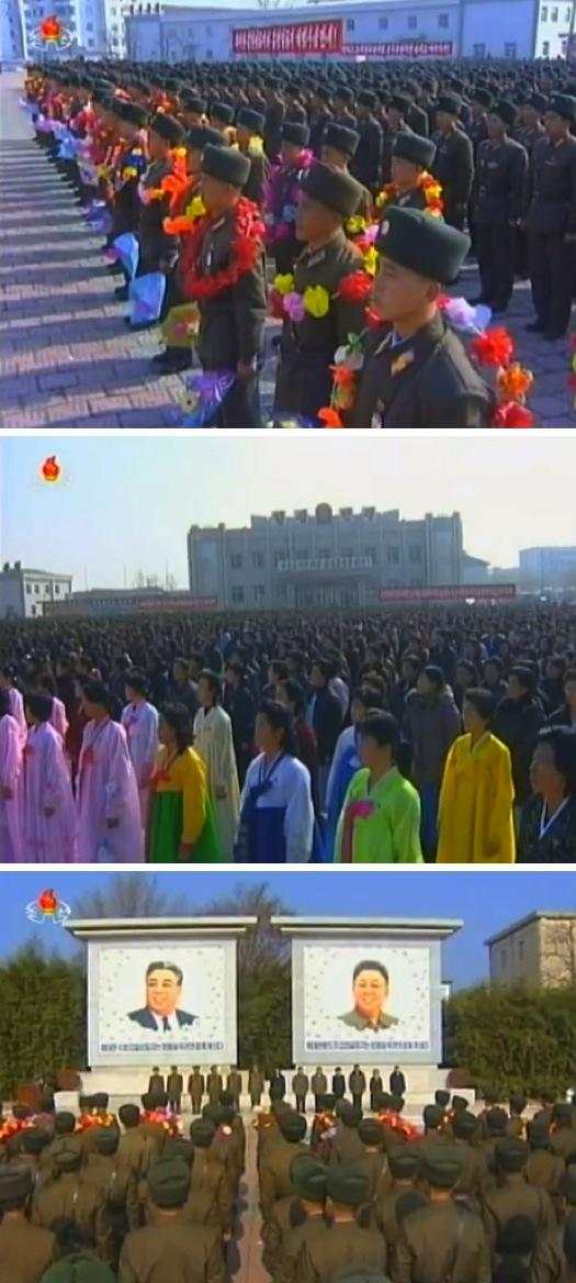 Views of a 23 November 2013 meeting in Kangryo'ng County, South Hwanghae Province marking the 3rd anniversary of the Yo'np'yo'ng Island artillery incident (Photos: KCTV screen grab).