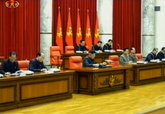 View of platform of an 8 December 2013 expanded meeting of the KWP Political  Bureau (Photo: KCTV screen grab).
