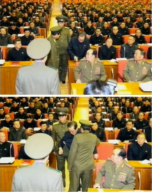 Jang Song Taek is removed from an 8 December 2013 expanded meeting of the KWP Political Bureau after his expulsion from the party (Photos: KCTV screen grabs).