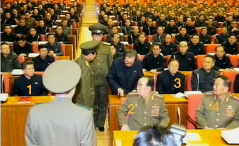 Senior DPRK officials observe Jang Song Taek being escorted from the KWP Political Bureau meeting: KWP Finance and Accounting Department Director Han Kwang Sang (1), former Chief of the KPA General Staff and former Minister of the People's Armed Forces Gen. Kim Kyok Sik (2) and KWP Workers' Organizations Department Ri Yong Su (3) (Photo: KCTV screen grab).
