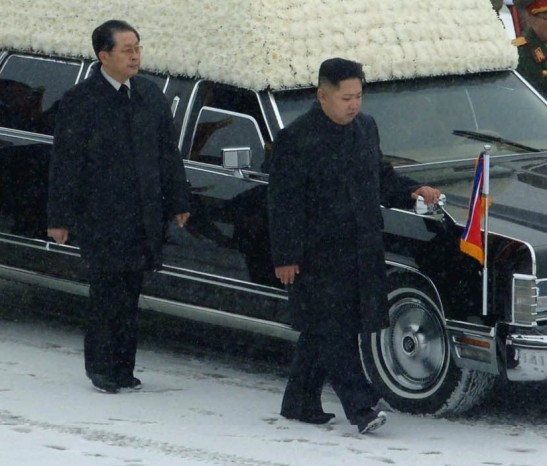 Jang Song Taek (L) with Kim Jong Un accompanying the hearse of late DPRK leader Kim Jong Il in December 2011 (NK Leadership Watch archive photo).