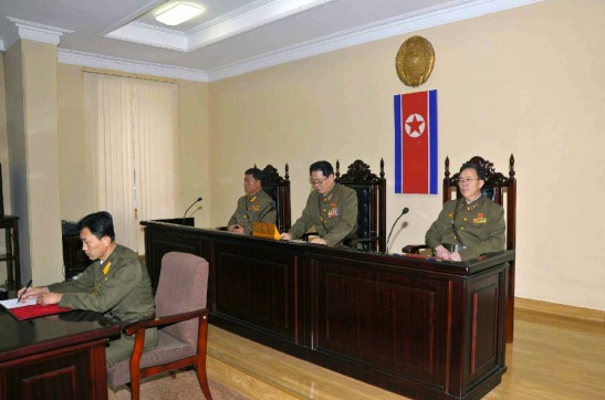 A three-member panel of the Ministry of State Security's special tribunal hearing accusations against Jang Song Taek (Photo: Rodong Sinmun).