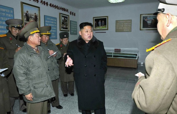 Kim Jong Un visits an historical exhibition as the KPA Design Institute (Photo: Rodong Sinmun).