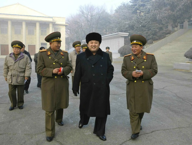 Kim Jong Un visits the command element of KPA Unit #526 in South P'yo'ngan Province to mark the 22nd anniversary of Kim Jong Il's assumption of the KPA Supreme Command (24 December) (Photo: Rodong Sinmun).