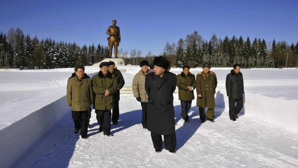 Kim Jong tours the Samjiyo'n Revolutionary Battle Site (Photo: Rodong Sinmun).