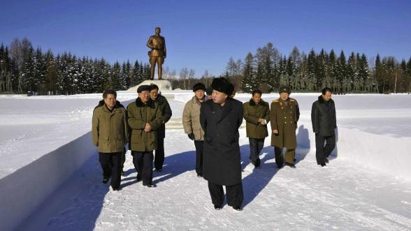 Kim Jong tours the Samjiyo'n Revolutionary Battle Site (Photo: Rodong Sinmun).