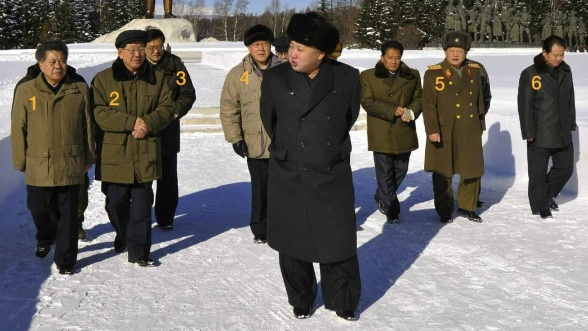 Kim Jong Un in front of Samjiyo'n Grand Monument.  Also in attendance are Han Kwang Sang (1) Hwang Pyong So (2), Kim Pyong Ho (3), Kim Yang Gon (4), Gen. Kim Won Hong (5) and Hong Yong Chil (6) (Photo: Rodong Sinmun).