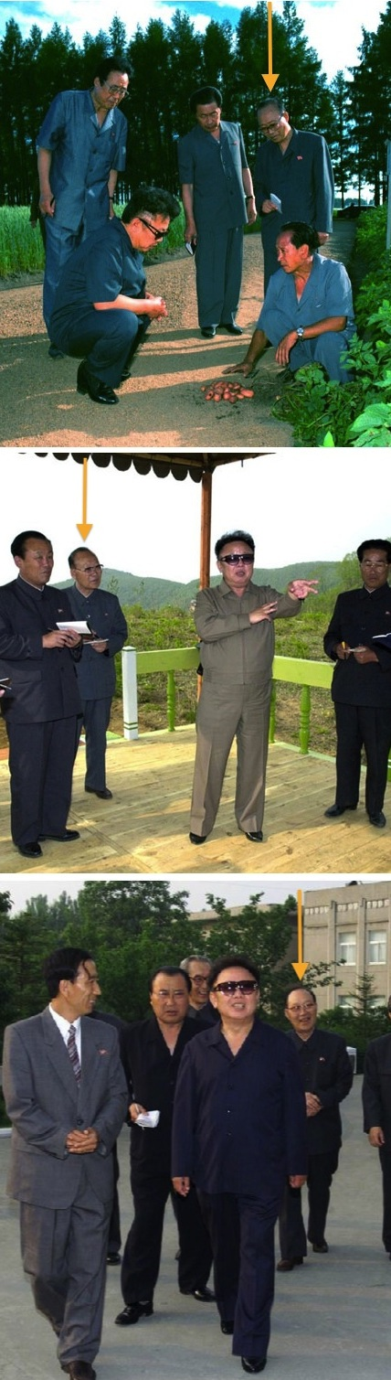 Kim Kuk T'ae routinely accompanied Kim Jong Il during the late 1990s and early 2000s (Photos: Rodong Sinmun).