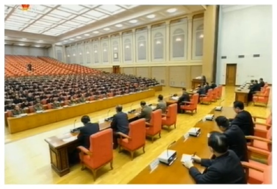 "Overview of an 8 December 2013 expanded meeting of the KWP Political Bureau at which Jang Song Taek was accused of ""factional acts"" and expelled from the party (Photo: KCTV screen grab)."
