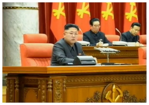 Kim Jong Un attends an 8 December 2013 expanded meeting of the KWP Political Bureau.  Also seen in attendance are KWP Secretary and Director of Cadres Affairs Kim P'yo'ng-hae (2nd R) and Chief Secretary of the Pyongyang KWP Committee Mun Kyong Dok (R).  Mun was a protege of Jang Song Taek's (Photo: KCTV screen grab).