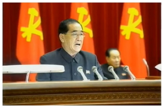 "DPRK Premier Pak Pong Ju speaks after a report about Jang Song Taek's ""factional activities"" were read during an expanded KWP Political Bureau meeting (Photo: KCTV screen grab)."