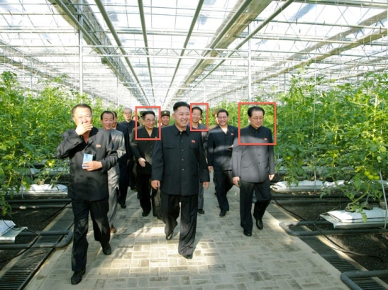 Red boxes indicate senior officials who attended a September 2012 visit with Kim Jong Un who have been executed as of January 2014.  Officials annotated in this photo are Ri Ryong Ha, Pak Chun Hong and Jang Song Taek (Photo: Rodong Sinmun).