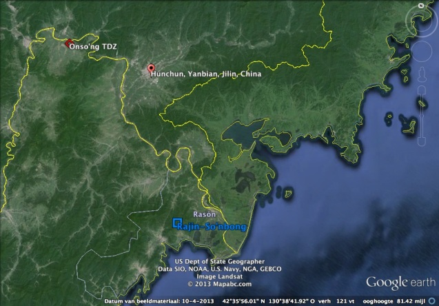 Overview of the northeast DPRK-China border showing the Raso'n and Onso'ng development zones in the DPRK and Hunchun in Jilin Province, China (Photo: Google image).
