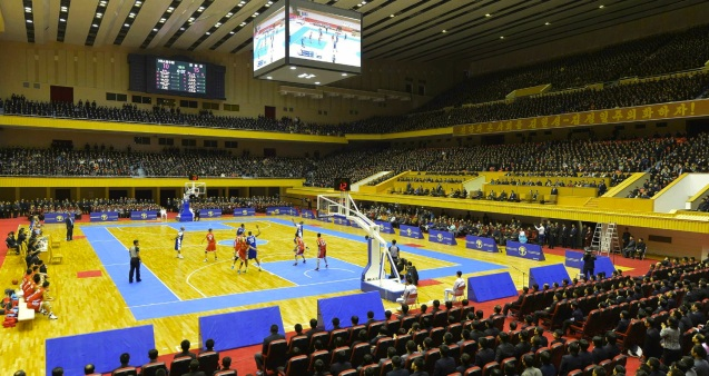 Basketball game between US and DPRK players at Pyongyang Indoor Stadium on 8 January 2013 (Photo: Rodong Sinmun).