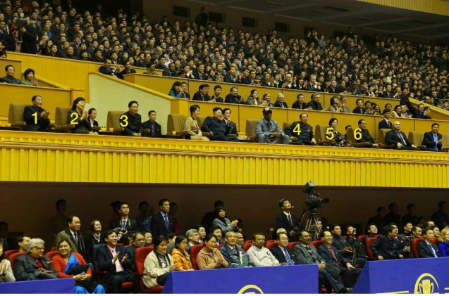 Members of the central leadership attending a basketball game with Kim Jong Un and Dennis Rodman in Pyongyang on 8 January 2013: DPRK Vice Premier Kang Sok Ju (1); wife of VMar Choe Ryong Hae (2); Director of the KPA General Political Department VMar Choe Ryong Hae (3); Minister of Physical Culture and Sports Ri Jong Mu (4); wife of Pak Pong Ju (5); DPRK Premier Pak Pong Ju (Photo: Rodong Sinmun).