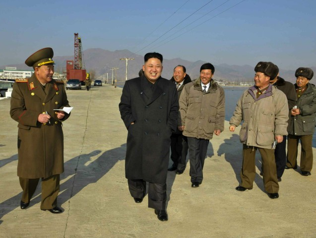 Kim Jong Un tours a seafood refrigeration facility recently constructed by KPA Unit #534.  Also seen in attendance is Col. Gen. So Hong Chang (L), 1st Vice Minister of the People's Armed Forces (Photo: Rodong Sinmun).