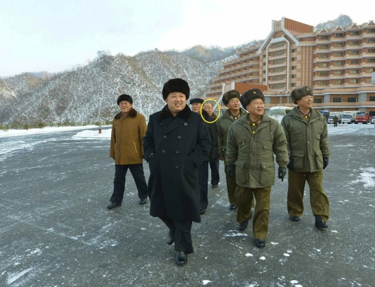 Pak Myong Chol (highlighted) attends Kim Jong Un's visit to Masik Pass Ski Resort in December 2013 (Photo: Rodong Sinmun).