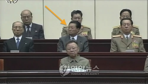 Paek Se Bong (annotated) attends a ceremony marking the 15th anniversary of the death of DPRK President Kim Il Sung in July 2009 (Photo: KCTV-Yonhap).