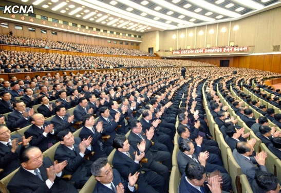 Participants at a central report meeting held on 18 February 2014 to mark the 40th anniversary of Kim Jong Il promulgating the policy to model DPRK society on Kimilsungism (Photo: KCNA).