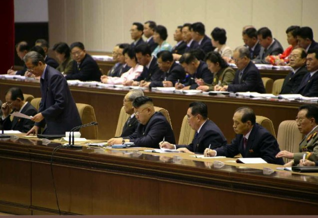 KWP Secretary and SPA Chairman Choe Tae Bok speaks during the conference (Photo: Rodong Sinmun).
