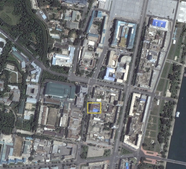 The DPRK Foot-and-Mouth Disease Research and Prevention Institute (annotated) in central Pyongyang (Photo: Digital Globe).