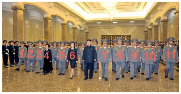 Kim Jong Un visits Ku'msusan on 16 February 2013.  Also in attendance: Gen. Kim Won Hong (1), VMar Kim Yong Chun (2), Pak To Chun (3), Kim Kyong Hui (4), VMar Choe Ryong Hae (5), Ri Sol Ju (6), Jang Song Taek (7), Gen. Hyon Yong Chol (8), Gen. Kim Kyok Sik (9), VMar Hyon Chol Hae (10), VMar Kim Jong Gak (11) (Photo: Rodong Sinmun).