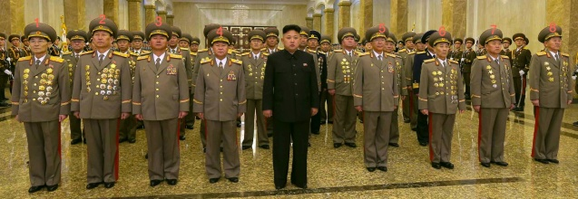 Kim Jong Un visits Ku'msusan on 16 February 2014.  Also in attendance are: Maj. Gen. Ryom Chol Song (1), Lt. Gen. Kim Su Gil (2), Col. Gen. Jang Jong Nam (3), VMar Choe Ryong Hae (4), Gen. Ri Yong Gil (5), Col. Gen. Pyon In Son (6), Col. Gen. So Hong Chang (7), Col. Gen. Jo Kyong Chol (8) (Photo: Rodong Sinmun).