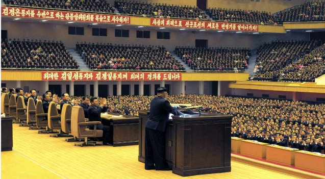 Kim Jong Un speaks at the 8th conference of ideology workers of the KWP (Photo: Rodong Sinmun).